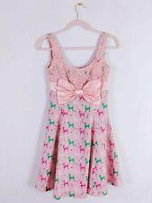 Jesus Diamante Poodle Print Dress Pink Satin Bow Hime Gyaru Kawaii Sweet Lolita