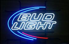 "New Bud Light Beer Bar Neon Sign 17""x14"" Real Glass Decor Windows Open"
