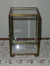 Vintage Brass & Glass Curio Case Dresser Top Display For Dolls or Figurines