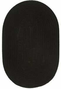 WearEver Durable Country Cottage Home Classic Solid Braided Rug Black S016