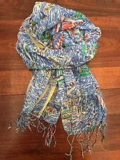 Lilly Pulitzer Get Nauti Murfee Scarf EUC Nautical Boat Cashmere Silk Blend