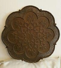 Gran Bandeja De Cobre Antiguo recargado perforado persa kasmiri islámica Oriental