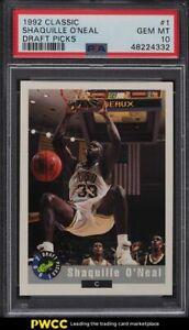 1992 Classic Draft Picks Shaquille O'Neal ROOKIE RC #1 PSA 10 GEM MINT