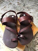 Ring-Toe Buckle Ankle Roman Flat Handmade Dark Brown Leather Jesus Shoe Men's US