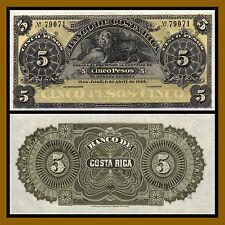 Costa Rica 5 Pesos, 1899 P-S163r Lion Unc