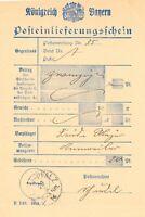 """BAYERN 1914, """"STEIN-PFALZ"""" K1 Kab.-Posteinlieferungsschein, Scheingebühr 20 Pf."""