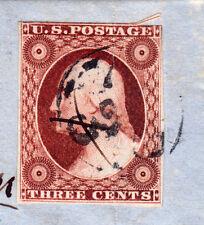 """#11A - 3 Cent 1851-57, 76L2L, Green """"PANAMA/MAR/27/N.Y."""" CDS, FLS, 1852 on Land"""