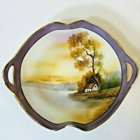 Vintage 1930's Hand Painted Noritake Bowl Country Cottage Pastoral Scene Purple