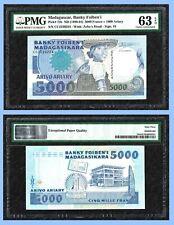 Madagascar 5000 FRANCS =1000 Ariary, ND(1988-1994), P-73b , PMG : 63 EPQ UNC /**