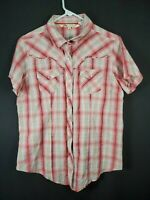 Cumberland Outfitters Women's Short Sleeve Multicolor Snap Front Short Size L