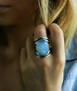 Vintage 925 Silver Women Oval Cut Moonstone Ring Wedding Party Jewelry Size 6-10