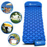 Inflatable Compact Camping Sleeping Pad Hiking Air Mattress Blue w/ Pillow