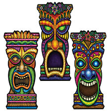 "3 TIKI cutouts 22""  LUAU BEACH TROPICAL POOL PARTY Tribal Hawaiian Decorations"