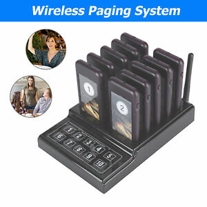 Restaurant Wireless Queue Calling System Transmitter 10 Receivers Coasters Pager