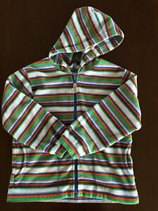 Hanna Andersson 7-8 boy multi color stripe long sleeve hooded zip up fleece