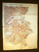 Grande carta geografica del 1909 Catania, Siracusa, Noto, Pachino Sicilia T.C.I.