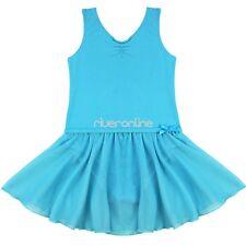 Girls Sleevless Gymnastics Ballet Dance Dress Leotard Tutu Skirt Costume 2-14Y