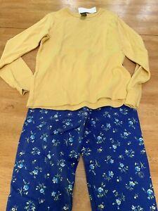 Gap Yellow Long Sleeve Top Gap Blue Floral Leggings NWT