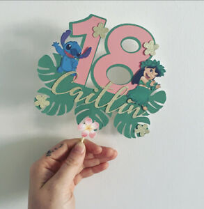 Disney Themed Lilo & Stitch Cake Topper Personalised Age birthday decoration