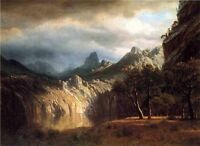 Dream-art Oil painting In Western Mountains & rivers Albert Bierstadt canvas 36""