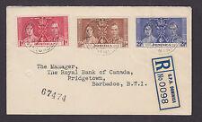 Dominica Sc 94-97 FDC. 1937 Coronation cplt to Barbados