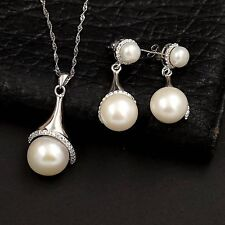 Freshwater Pearl Sterling Silver CZ Pendant Necklace Earrings Jewelry Set 00333