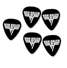 EDDIE VAN HALEN x5 Bianco su Nero Firma Stampa Plettro Picks Guitar Picks