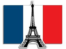 """Eiffel Tower on the France Flag Shaped Sticker (french paris)  2.5"""""""