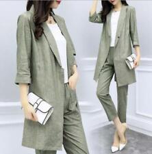 Womens Fashion Cotton Linen Long Blazer Cropped Pants Suit Sets 2 Pcs Coat+pant