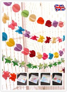 UK Paper Flower Garland Buntings Wedding Party Birthday Banner Hanging Decor