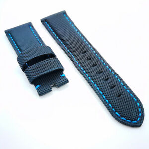 22mm Black Canvas Blue Stitch Calf Leather Band Strap for PAM Luminor Radiomir