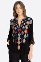 💕JOHNNY WAS Embroidered MESHIKA CHALLIS BLOUSE Tunic BIYA Aztec XS $248 💕