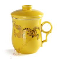 270ml Golden Dragon Ceramic Yellow Porcelain Tea Mug Cup with lid Infuser Filter
