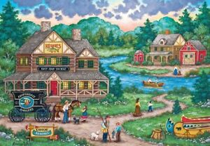 Jigsaw Puzzle Landscape Village Life Adirondacks Anglers 2000 pieces NEW