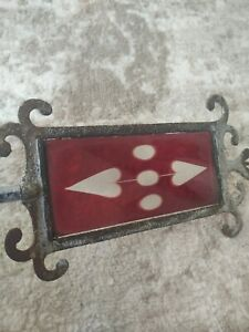 Antique Weathervane Lightning Rod Directional Arrow RED glass