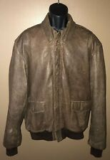 LL BEAN Flying Tiger Jacket Brown Leather Bomber Mens Size 46 USA Thinsulate