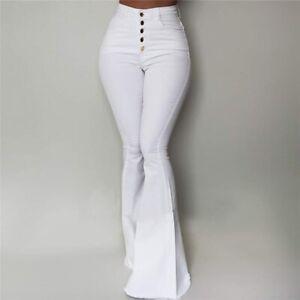 Pantalón Para Mujer Jean de Mezclilla Pantalones Vaqueros Campana Casuales Ropa
