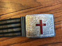 Vintage and/or Antique Knights Templar Masonic Belt Ceremonial Buckle Red Cross
