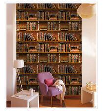 10m 3D Bookshelf Wallpaper Waterproof Wall Decor Sticker Furniture Contact Paper
