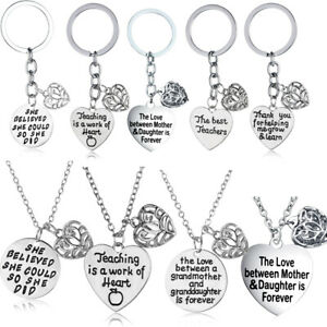 Hollow Heart Charm Pendant Necklace Chain Thank You Gifts Keychain Key Rings