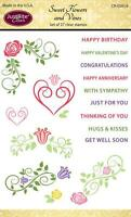JUSTRITE CLEAR Rubber Stamps SWEET FLOWERS & VINES CR-05014 With Sympathy Hugs