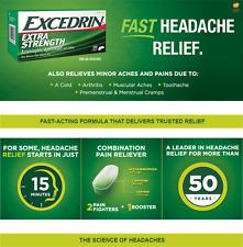 Excedrin Extra Strength 300 Caplets Acetaminophen Aspirin Caffeine