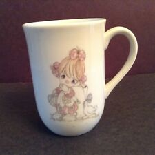 Precious Moments Coffee Cup 1985 Girl & Goose