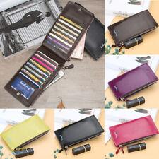 Women Bifold Leather Credit Card Holder Long Double Zipper Purse Wallet Clutch
