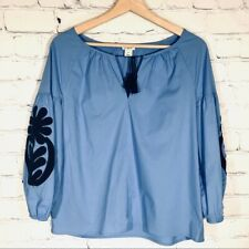 J. CREW Embroidered Blue Peasant Top Oversize Blouse w/ Navy Women's XSMALL XS