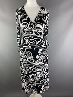 Marks and Spencer Size 10 Black White Monochrome 3/4 Sleeve Wrap Jersey Dress