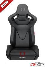 Cipher AR-9 Revo Racing Seats -Black Leather Carbon Fiber w/ Grey Stitches -Pair