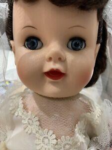 "Vintage SAYCO BRIDE DOLL 22"" Sleepy Eyes, Brunette W/ ORIGINAL BOX"