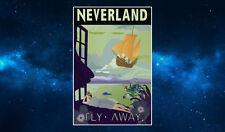 Neverland Retro Travel Poster Fridge Magnet NEW Inspired by Peter Pan. Art Deco