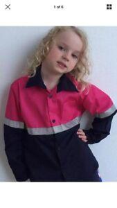 HI VIS Kids Pink & Navy Long Sleeve Work Shirt - FREE POSTAGE